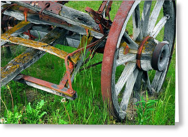 Wooden Wagons Greeting Cards - Wheel Of Wood Greeting Card by Ron Day