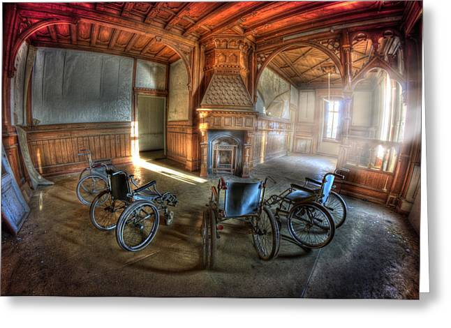 Mental Institution Greeting Cards - Wheel up the four Greeting Card by Nathan Wright