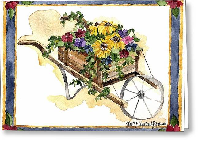 Wooden Wagons Paintings Greeting Cards - Wheelbarrow of Flowers Greeting Card by Shelley Wallace Ylst