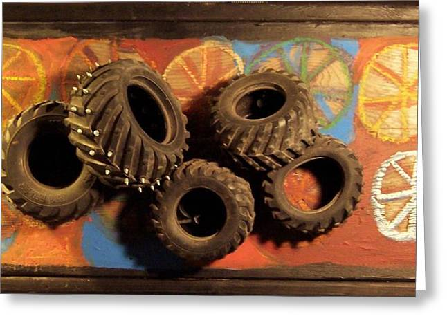Toys Sculptures Greeting Cards - Wheels Greeting Card by Krista Ouellette
