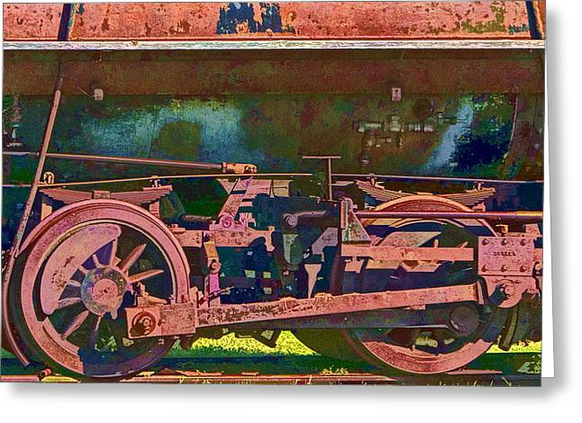 Locomotive Wheels Greeting Cards - Wheels of an Old Vintage Train Engine No.1026 Greeting Card by Randall Nyhof