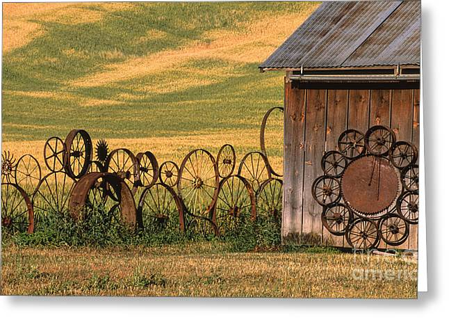 Spokes Greeting Cards - Wheels of the Palouse Greeting Card by Sandra Bronstein