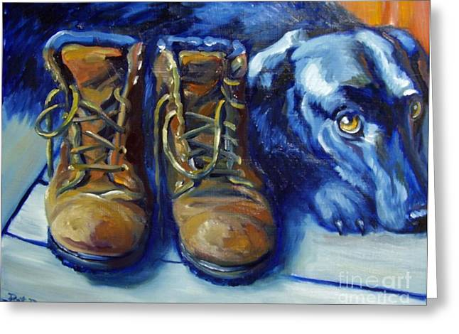 Black Boots Greeting Cards - When are we going Greeting Card by Pat Burns