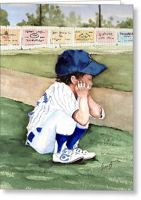 Baseball Uniform Paintings Greeting Cards - When Do I Get To Play Greeting Card by Sam Sidders