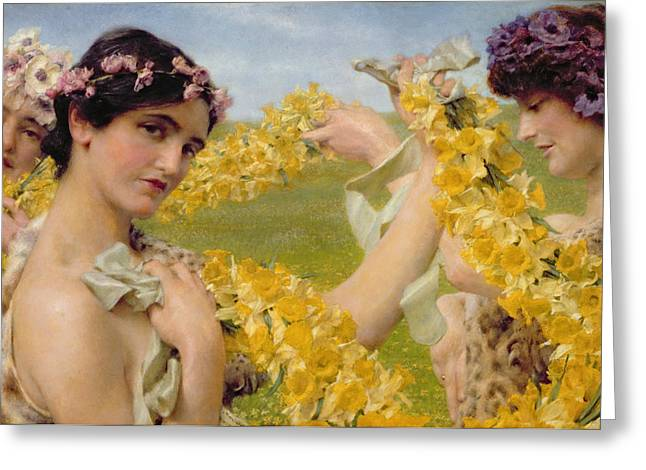 Fairies Greeting Cards - When Flowers Return Greeting Card by Sir Lawrence Alma-Tadema