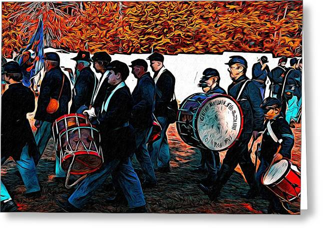 Marching Band Greeting Cards - When Johnny Comes Marching Home Greeting Card by Bill Cannon