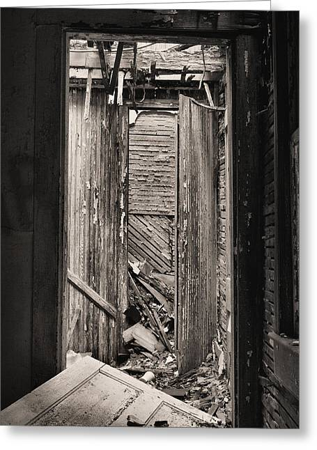 Creapy Greeting Cards - When One Door Closes BW Greeting Card by JC Findley