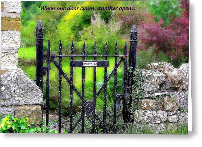 Motivational Poster Greeting Cards - When One Door Closes Greeting Card by Jen White