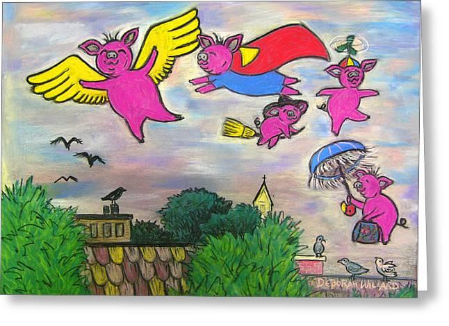 Umbrellas Pastels Greeting Cards - When Pigs Fly Greeting Card by Deborah Willard