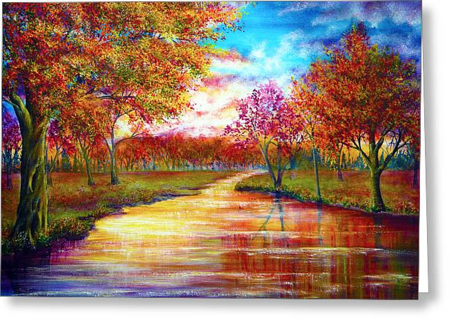 Kinkade Greeting Cards - When September Ends Greeting Card by Ann Marie Bone