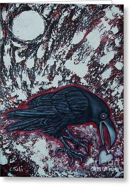 When The Raven Returned The Light Greeting Card by Claudia Tuli