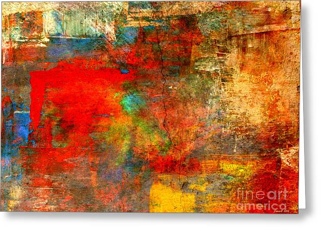 Define Mixed Media Greeting Cards - When Visitors Stay Abstract Greeting Card by Fania Simon