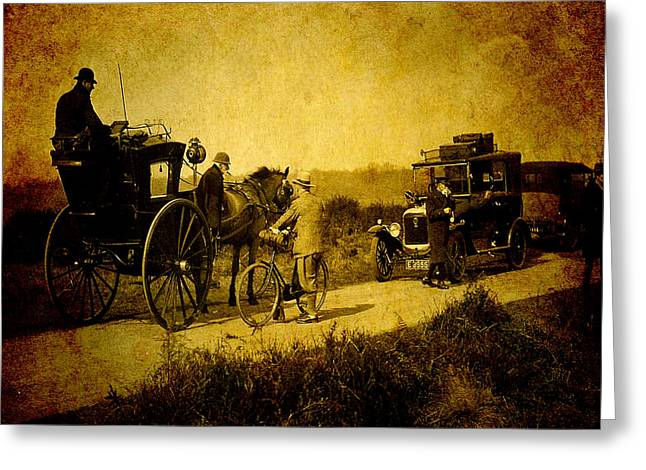 Horse-drawn Vehicle Digital Greeting Cards - When Worlds Collide Greeting Card by Sarah Vernon