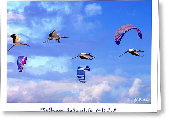 Kite Surfing Greeting Cards - When Worlds Glide Greeting Card by John Baldwin
