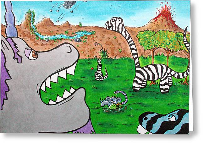 Black Unicorn Greeting Cards - When Zebrasaurs Walked The Earth Greeting Card by Jera Sky