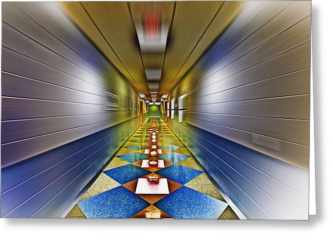 Exit Sign Greeting Cards - Where Are We Going Greeting Card by Skip Nall