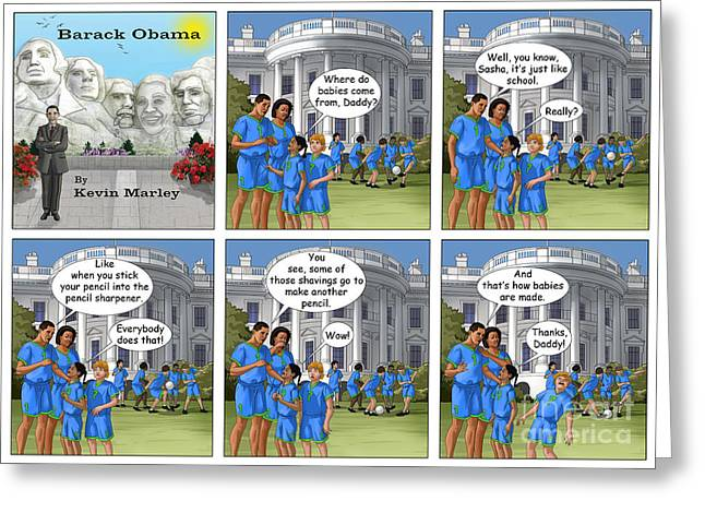 Michelle Obama Digital Art Greeting Cards - Where Do Babies Come From Greeting Card by Kevin  Marley