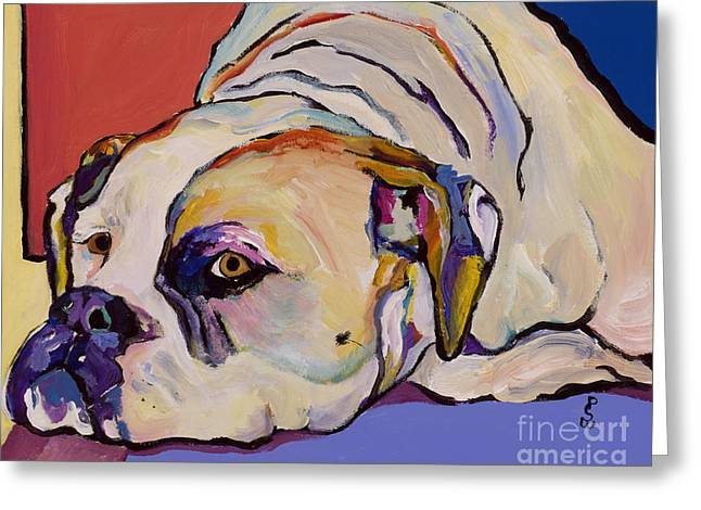 Bulldog Pet Portraits Greeting Cards - Where Is My Dinner Greeting Card by Pat Saunders-White