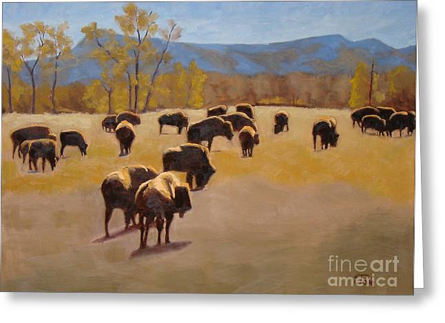All Landscape Greeting Cards - Where the buffalo roam Greeting Card by Tate Hamilton
