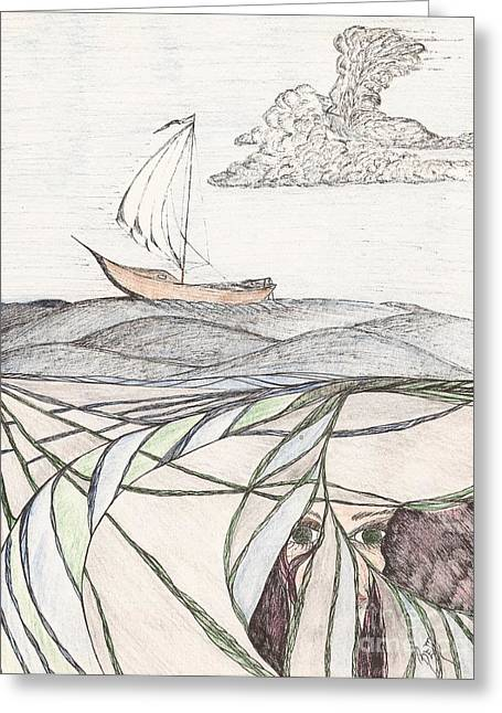 Robert Meszaros Drawings Greeting Cards - Where The Deep Currents Run... - Sketch Greeting Card by Robert Meszaros