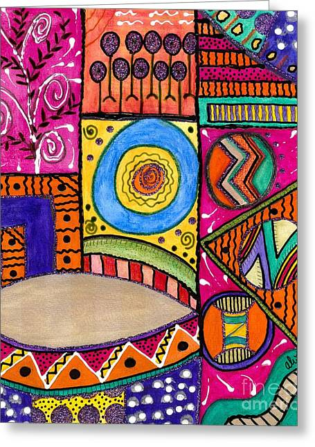 Survivor Art Greeting Cards - Where the Drum Maker Lives Greeting Card by Angela L Walker