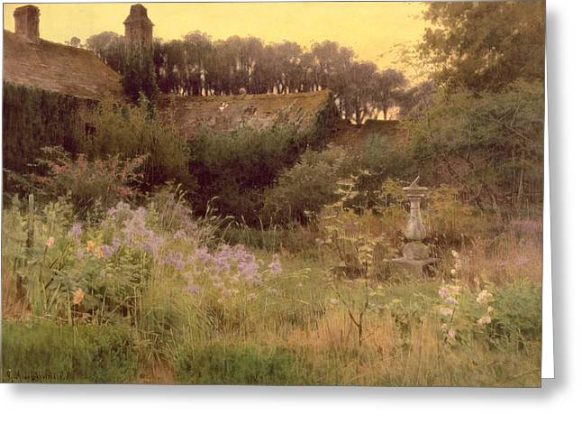 Abandoned House Greeting Cards - Where the Forgotten Garden Lies Asleep Greeting Card by Georgina M de l Aubiniere