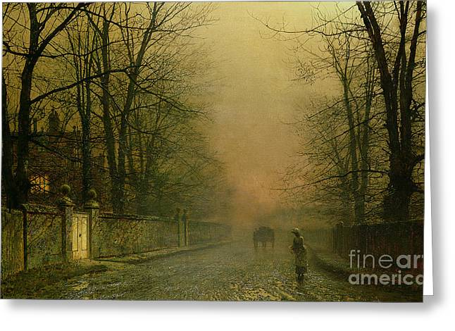 Where The Pale Moonbeams Linger  Greeting Card by John Atkinson Grimshaw