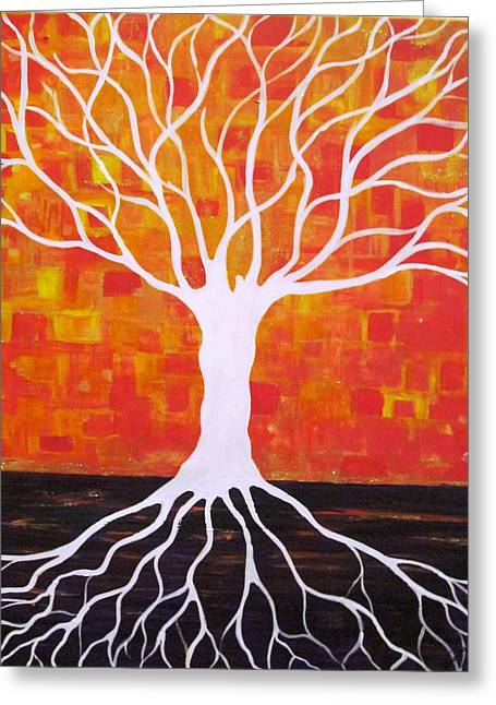 Tree Roots Paintings Greeting Cards - Which Side  Greeting Card by Jacqui Hawk