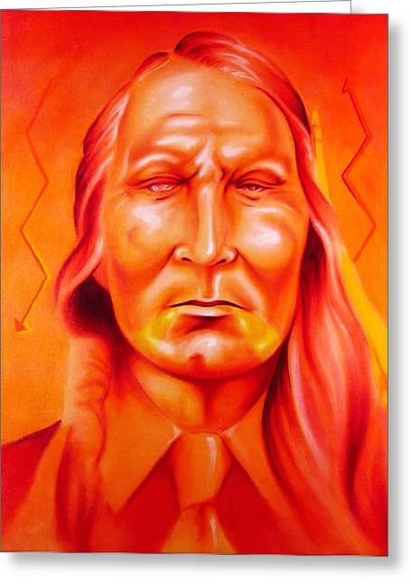 Contemporary Native Art Greeting Cards - Which Side Greeting Card by Robert Martinez