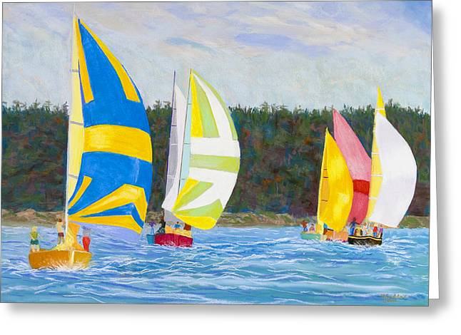 Boats In Harbor Greeting Cards - Whidbey Racers Greeting Card by James Geddes