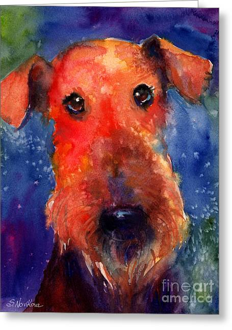 Breeds Greeting Cards - Whimsical Airedale Dog painting Greeting Card by Svetlana Novikova