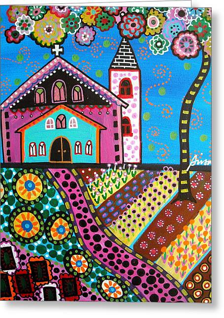 Carter House Greeting Cards - Whimsical Church Greeting Card by Pristine Cartera Turkus