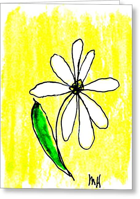 Ink Drawing Paintings Greeting Cards - Whimsical Daisy Greeting Card by Marsha Heiken