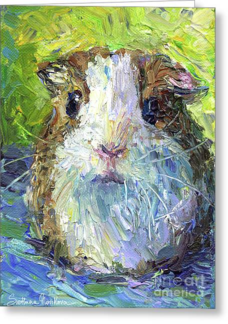 Impressionistic Poster Greeting Cards - Whimsical Guinea Pig painting print Greeting Card by Svetlana Novikova