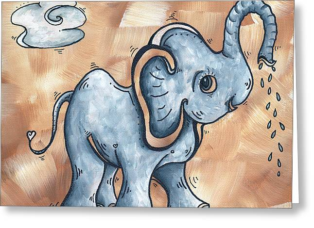 Children Licensing Greeting Cards - Whimsical Pop Art Childrens Nursery Original Elephant Painting ADORABLE by MADART Greeting Card by Megan Duncanson
