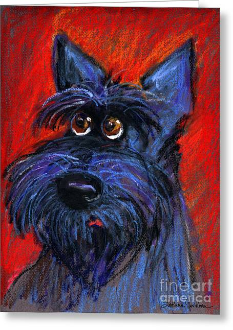 Breeds Greeting Cards - whimsical Schnauzer dog painting Greeting Card by Svetlana Novikova