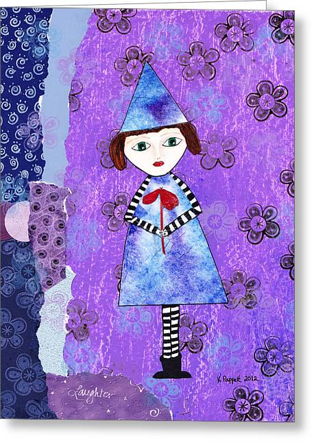 Flowers Greeting Cards - Whimsical Tie Dye Girl Mixed Media Collage Greeting Card by Karen Pappert