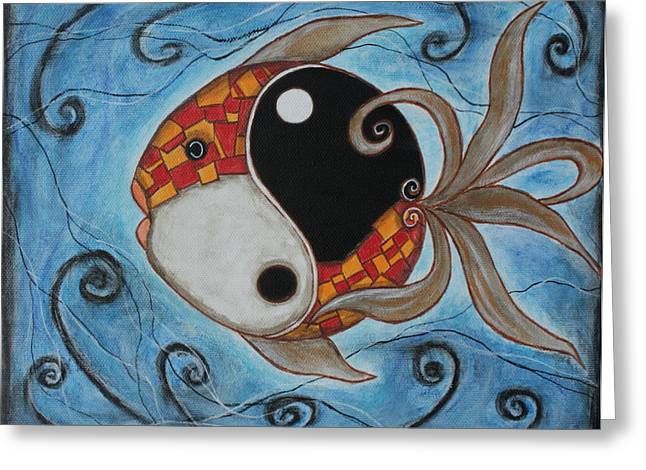 Acrylic Pastels Greeting Cards - Whimsy Fish 3 Yin and Yang Greeting Card by Rain Ririn