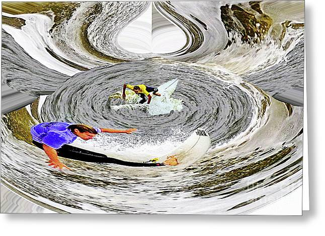 Surfing Art Pyrography Greeting Cards - Whirlpool Greeting Card by Ben De Marco