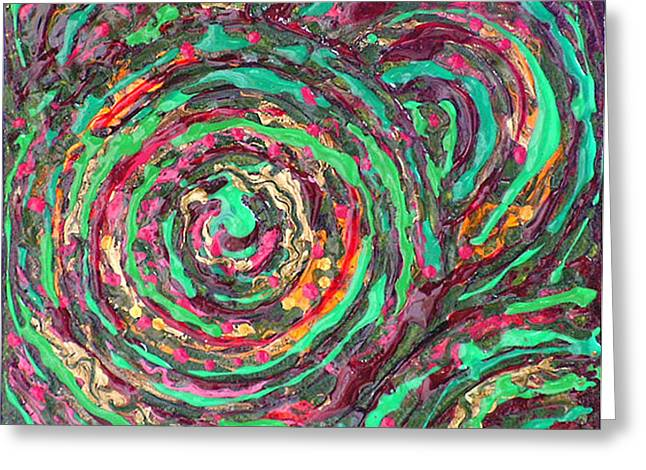 Green Abstract Reliefs Greeting Cards - WHIRLPOOLS IN GREEN Metallic Textured Acrylic Painting Green Red Orange Gold Greeting Card by Wendy Middlemass