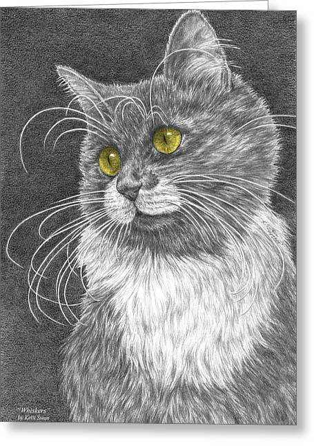 Cat Eyes Drawings Greeting Cards - Whiskers - Color Tinted Art Print Greeting Card by Kelli Swan