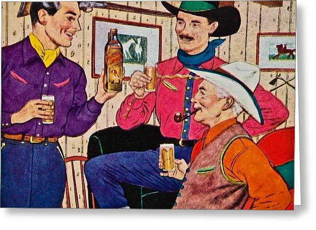 Whiskey Advertisement Greeting Card by Susan Leggett