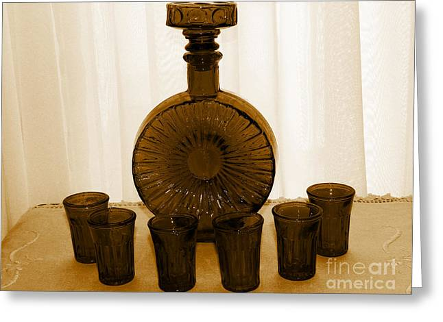 Decanters Digital Art Greeting Cards - Whiskey Decanter in Sepia Greeting Card by Barbara Griffin