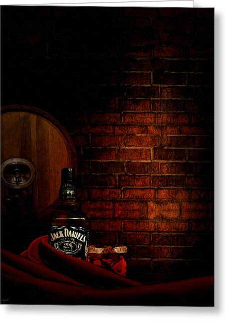 Cloth Greeting Cards - Whiskey Fancy Greeting Card by Lourry Legarde