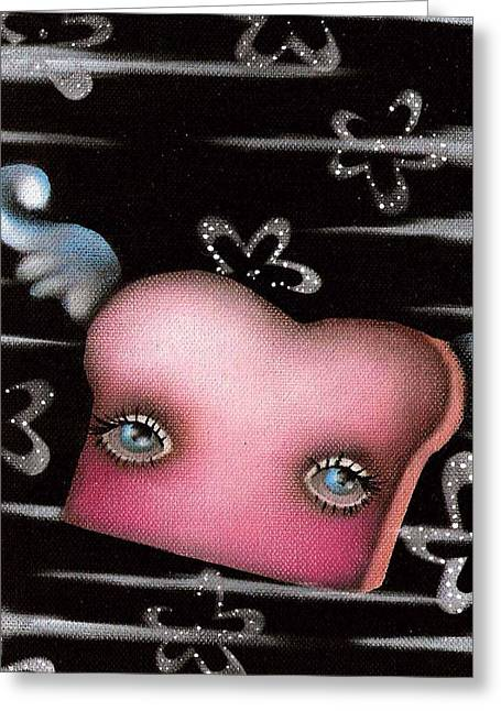 Toast Paintings Greeting Cards - Whisper the Flying Toast Greeting Card by  Abril Andrade Griffith