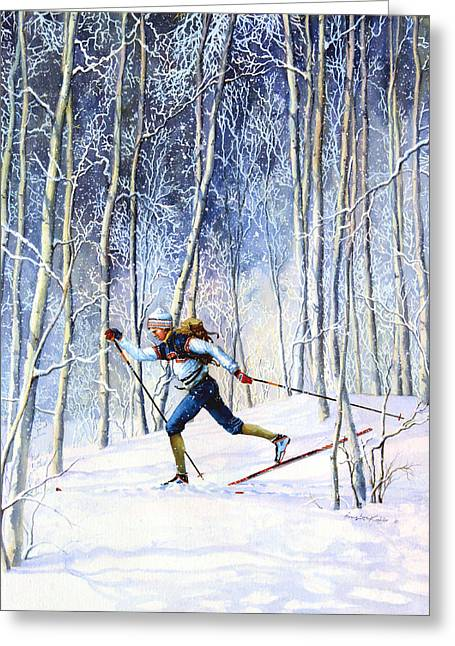 Ski Art Greeting Cards - Whispering Tracks Greeting Card by Hanne Lore Koehler