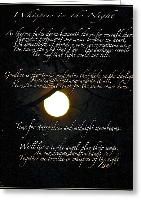 Ly Greeting Cards - Whispers In The Night Greeting Card by Debra     Vatalaro