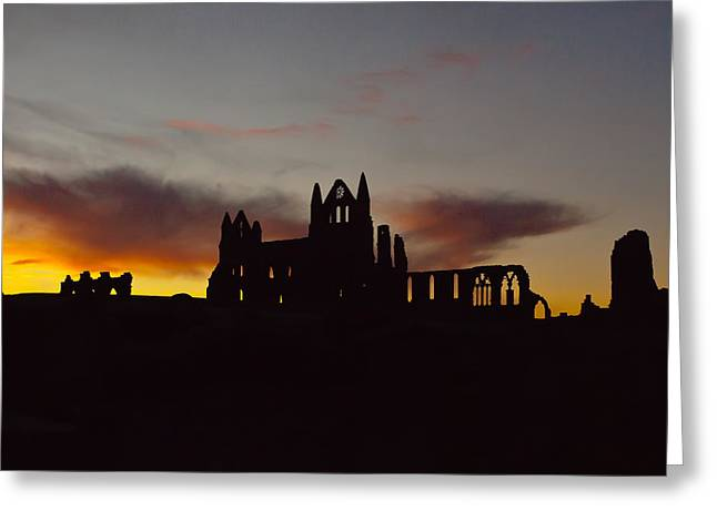 Abbey Giclee Print Greeting Cards - Whitby Abbey at sunrise Greeting Card by Gary Finnigan