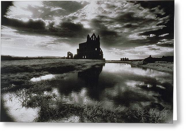 Ruin Greeting Cards - Whitby Abbey Greeting Card by Simon Marsden