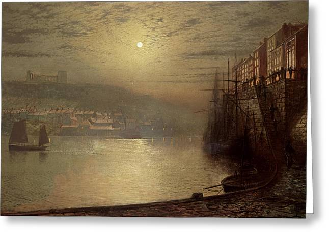 Cobbles Greeting Cards - Whitby Greeting Card by John Atkinson Grimshaw